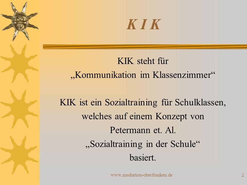 """2 K I K KIK steht für """"Kommunikation im Klassenzimmer"""" KIK ist ein Sozialtraining für Schulklassen, welches auf einem Konzept von Petermann et. Al. """"S"""