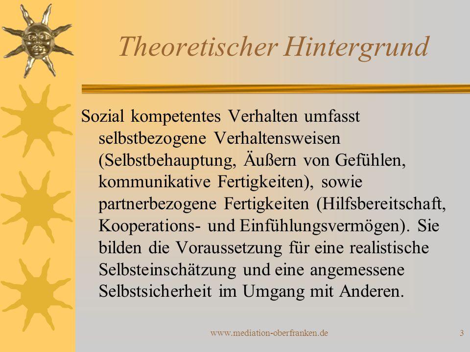 www.mediation-oberfranken.de3 Theoretischer Hintergrund Sozial kompetentes Verhalten umfasst selbstbezogene Verhaltensweisen (Selbstbehauptung, Äußern