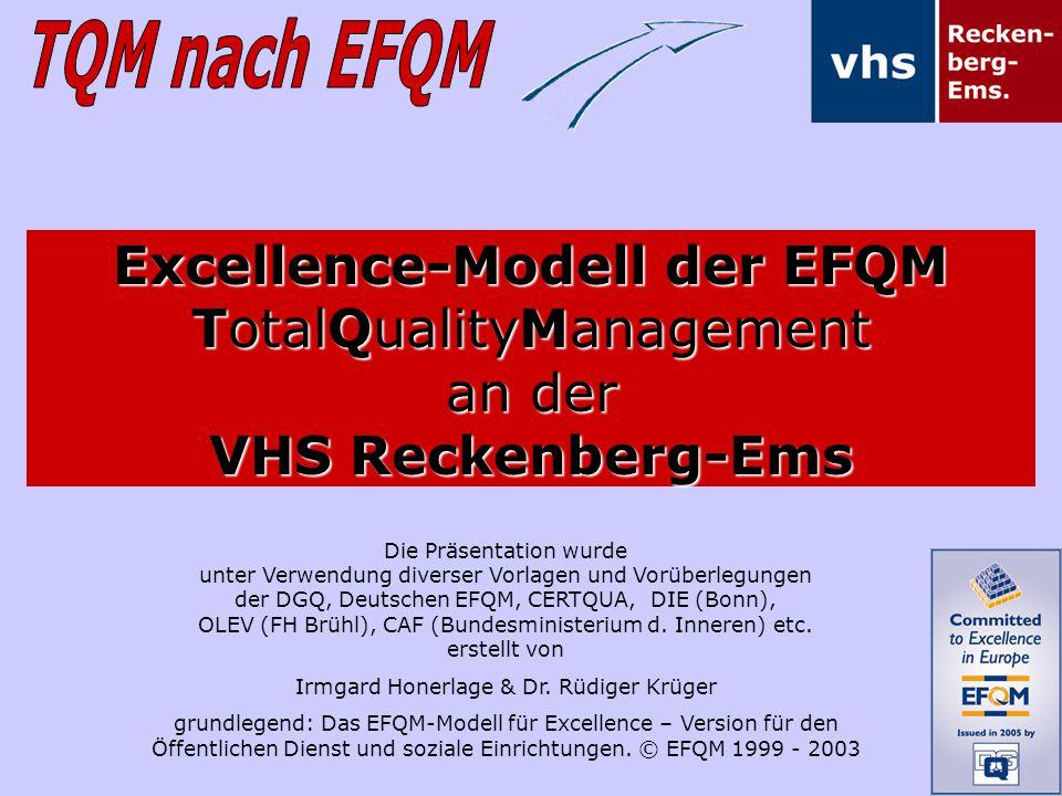 Die Präsentation wurde unter Verwendung diverser Vorlagen und Vorüberlegungen der DGQ, Deutschen EFQM, CERTQUA, DIE (Bonn), OLEV (FH Brühl), CAF (Bund