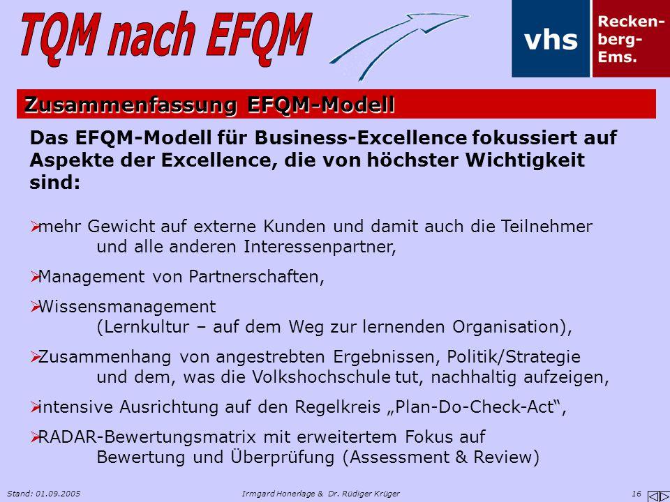 Stand: 01.09.2005Irmgard Honerlage & Dr. Rüdiger Krüger 16 Das EFQM-Modell für Business-Excellence fokussiert auf Aspekte der Excellence, die von höch