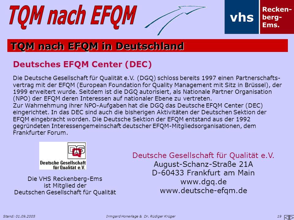 Stand: 01.09.2005Irmgard Honerlage & Dr. Rüdiger Krüger 19 TQM nach EFQM in Deutschland Deutsche Gesellschaft für Qualität e.V. August-Schanz-Straße 2
