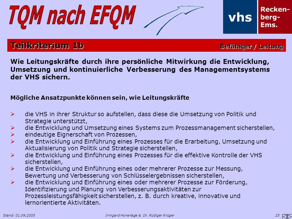 Stand: 01.09.2005Irmgard Honerlage & Dr. Rüdiger Krüger 25 Wie Leitungskräfte durch ihre persönliche Mitwirkung die Entwicklung, Umsetzung und kontinu
