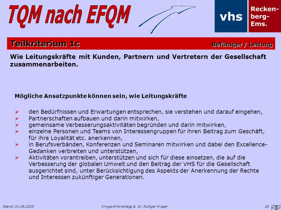 Stand: 01.09.2005Irmgard Honerlage & Dr. Rüdiger Krüger 26 Wie Leitungskräfte mit Kunden, Partnern und Vertretern der Gesellschaft zusammenarbeiten. M