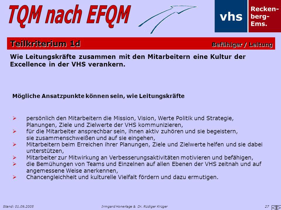 Stand: 01.09.2005Irmgard Honerlage & Dr. Rüdiger Krüger 27 Wie Leitungskräfte zusammen mit den Mitarbeitern eine Kultur der Excellence in der VHS vera