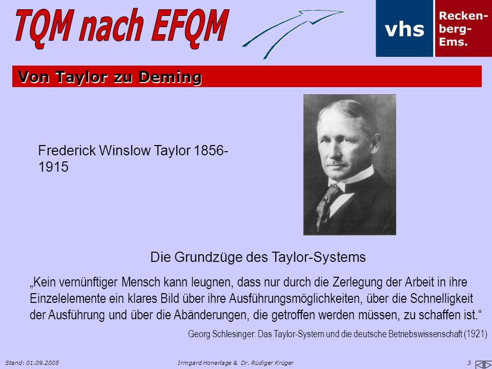 """Stand: 01.09.2005Irmgard Honerlage & Dr. Rüdiger Krüger 3 Von Taylor zu Deming Frederick Winslow Taylor 1856- 1915 Die Grundzüge des Taylor-Systems """"K"""