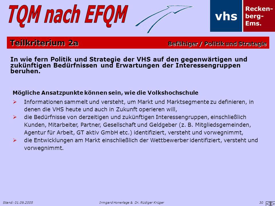 Stand: 01.09.2005Irmgard Honerlage & Dr. Rüdiger Krüger 30 In wie fern Politik und Strategie der VHS auf den gegenwärtigen und zukünftigen Bedürfnisse