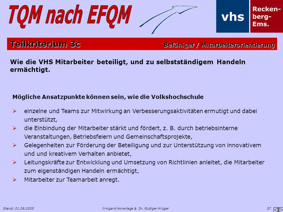 Stand: 01.09.2005Irmgard Honerlage & Dr. Rüdiger Krüger 37 Wie die VHS Mitarbeiter beteiligt, und zu selbstständigem Handeln ermächtigt. Mögliche Ansa