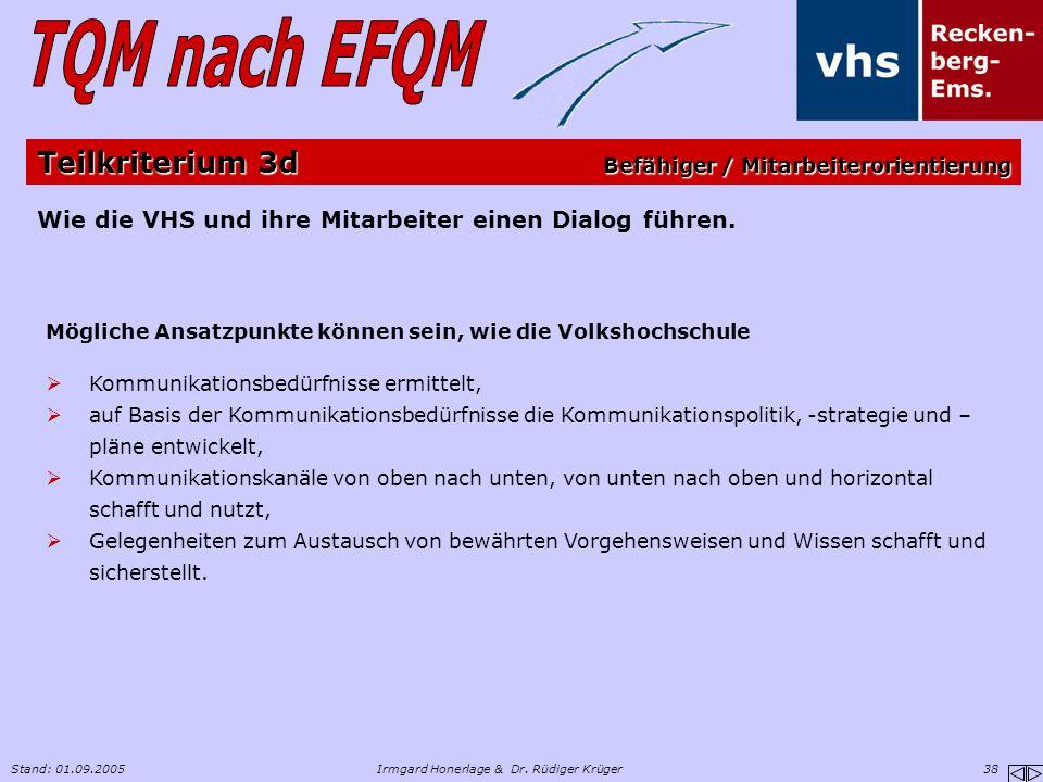 Stand: 01.09.2005Irmgard Honerlage & Dr. Rüdiger Krüger 38 Wie die VHS und ihre Mitarbeiter einen Dialog führen. Mögliche Ansatzpunkte können sein, wi