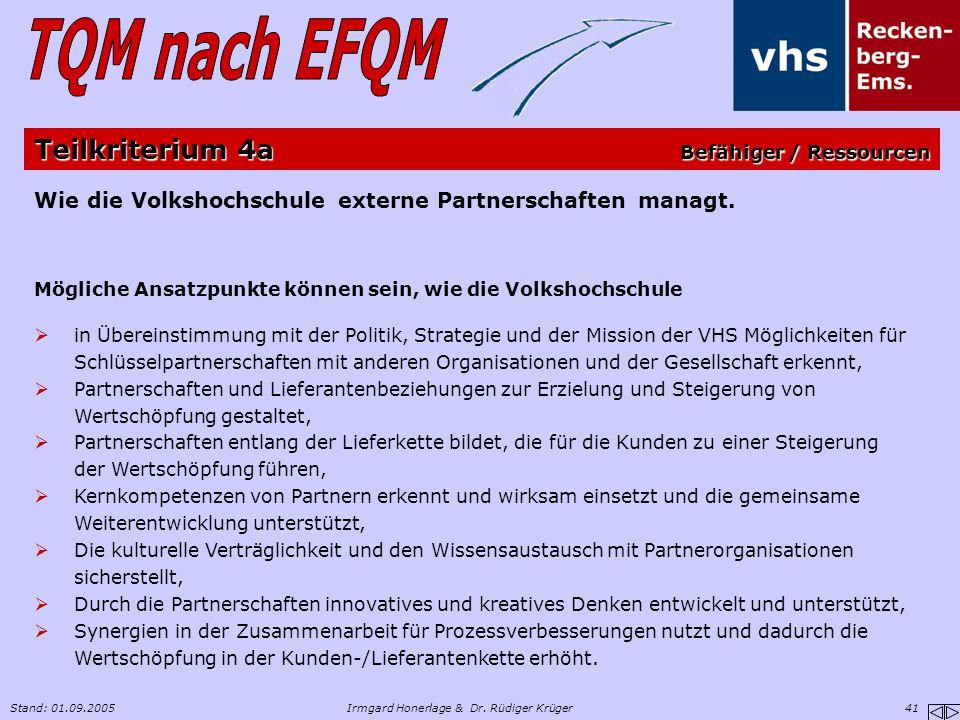 Stand: 01.09.2005Irmgard Honerlage & Dr. Rüdiger Krüger 41 Wie die Volkshochschule externe Partnerschaften managt. Mögliche Ansatzpunkte können sein,