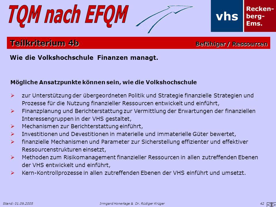 Stand: 01.09.2005Irmgard Honerlage & Dr. Rüdiger Krüger 42 Wie die Volkshochschule Finanzen managt. Mögliche Ansatzpunkte können sein, wie die Volksho