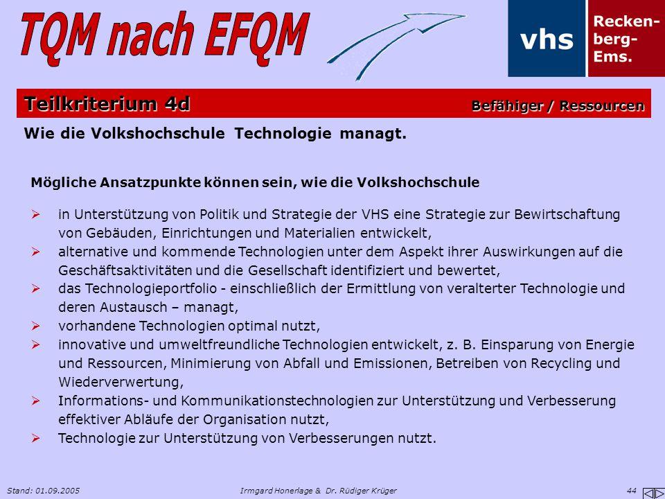 Stand: 01.09.2005Irmgard Honerlage & Dr. Rüdiger Krüger 44 Wie die Volkshochschule Technologie managt. Mögliche Ansatzpunkte können sein, wie die Volk