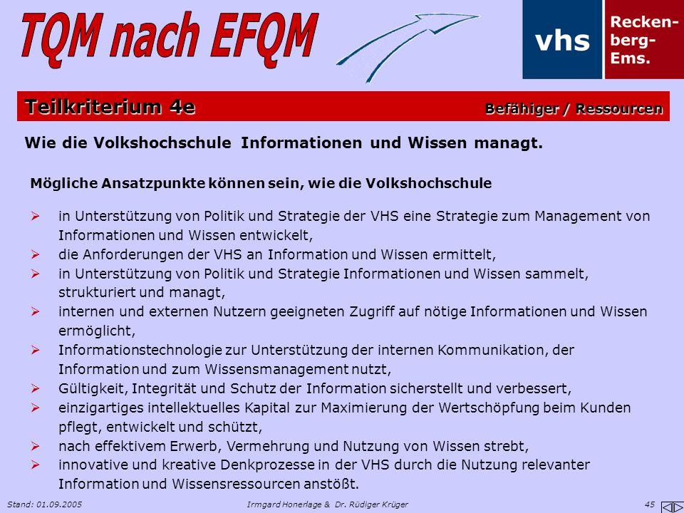 Stand: 01.09.2005Irmgard Honerlage & Dr. Rüdiger Krüger 45 Wie die Volkshochschule Informationen und Wissen managt. Mögliche Ansatzpunkte können sein,