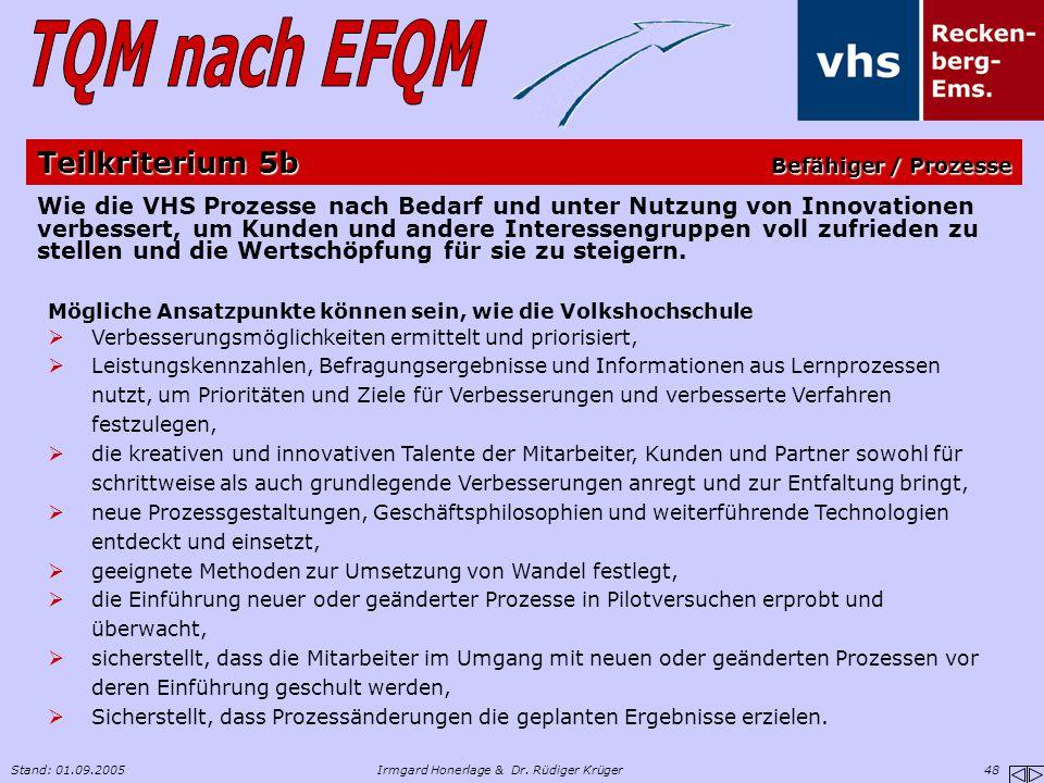 Stand: 01.09.2005Irmgard Honerlage & Dr. Rüdiger Krüger 48 Wie die VHS Prozesse nach Bedarf und unter Nutzung von Innovationen verbessert, um Kunden u