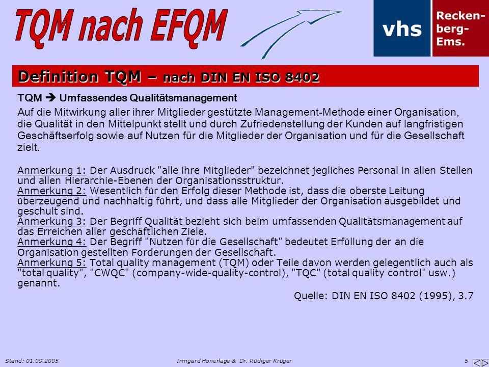 Stand: 01.09.2005Irmgard Honerlage & Dr. Rüdiger Krüger 5 Definition TQM – nach DIN EN ISO 8402 TQM  Umfassendes Qualitätsmanagement Auf die Mitwirku