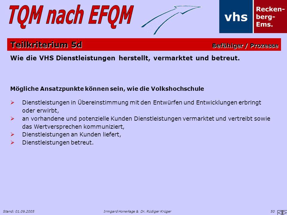 Stand: 01.09.2005Irmgard Honerlage & Dr. Rüdiger Krüger 50 Wie die VHS Dienstleistungen herstellt, vermarktet und betreut. Mögliche Ansatzpunkte könne