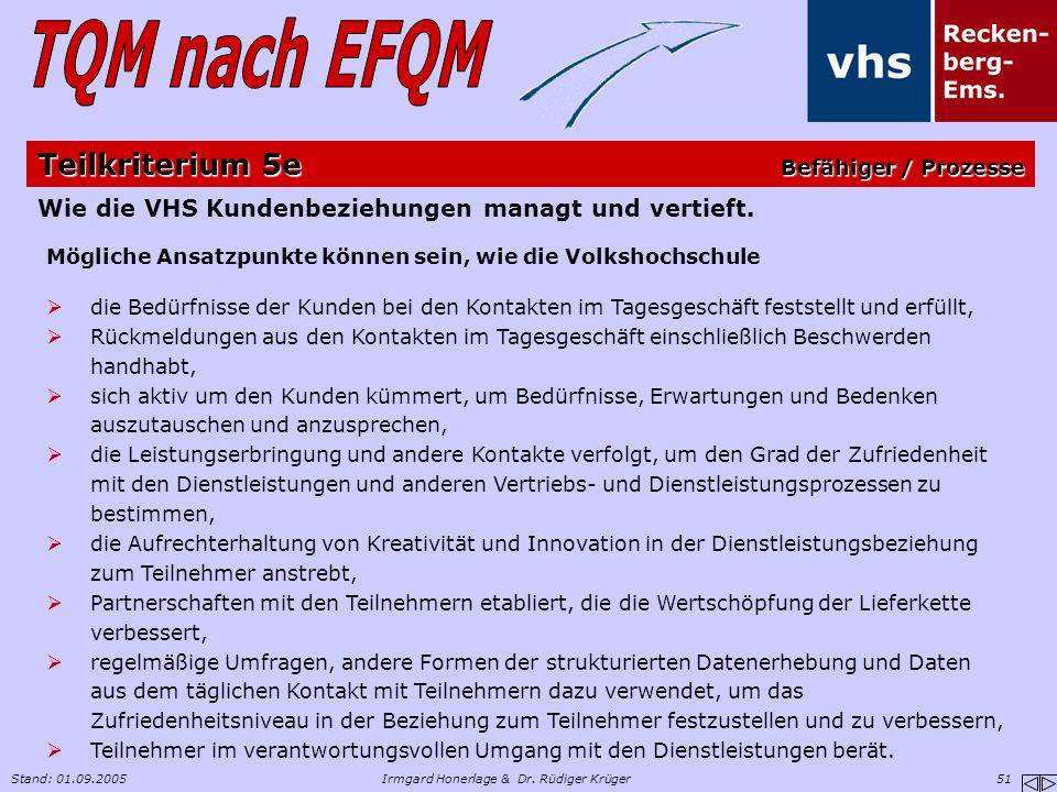 Stand: 01.09.2005Irmgard Honerlage & Dr. Rüdiger Krüger 51 Wie die VHS Kundenbeziehungen managt und vertieft. Mögliche Ansatzpunkte können sein, wie d