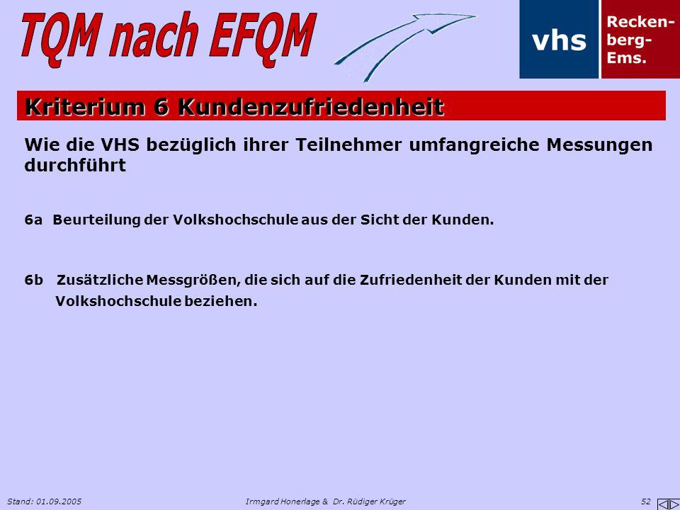 Stand: 01.09.2005Irmgard Honerlage & Dr. Rüdiger Krüger 52 Wie die VHS bezüglich ihrer Teilnehmer umfangreiche Messungen durchführt 6a Beurteilung der