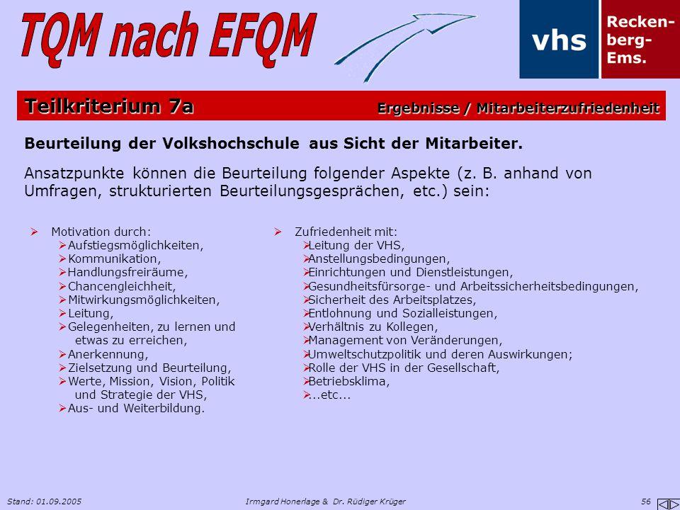 Stand: 01.09.2005Irmgard Honerlage & Dr. Rüdiger Krüger 56 Beurteilung der Volkshochschule aus Sicht der Mitarbeiter. Ansatzpunkte können die Beurteil