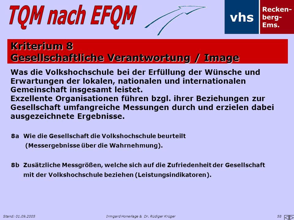Stand: 01.09.2005Irmgard Honerlage & Dr. Rüdiger Krüger 58 Was die Volkshochschule bei der Erfüllung der Wünsche und Erwartungen der lokalen, national