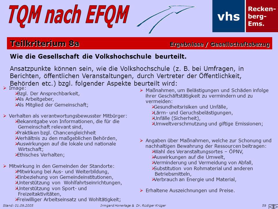 Stand: 01.09.2005Irmgard Honerlage & Dr. Rüdiger Krüger 59 Wie die Gesellschaft die Volkshochschule beurteilt. Ansatzpunkte können sein, wie die Volks