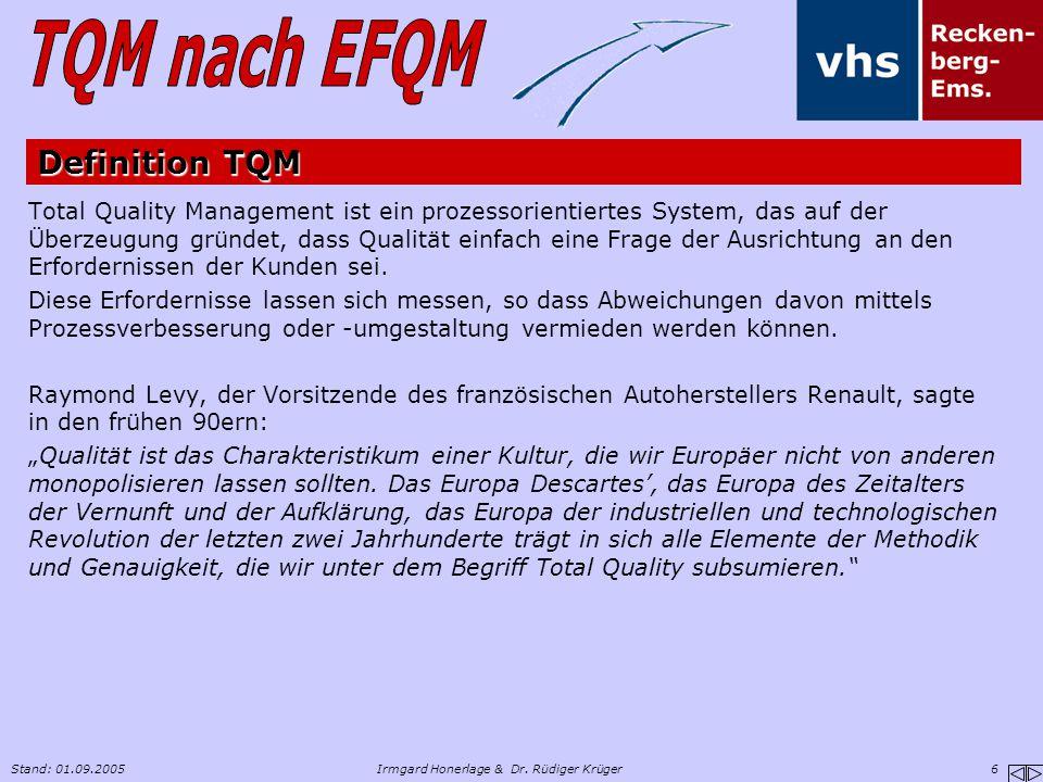 Stand: 01.09.2005Irmgard Honerlage & Dr. Rüdiger Krüger 6 Definition TQM Total Quality Management ist ein prozessorientiertes System, das auf der Über