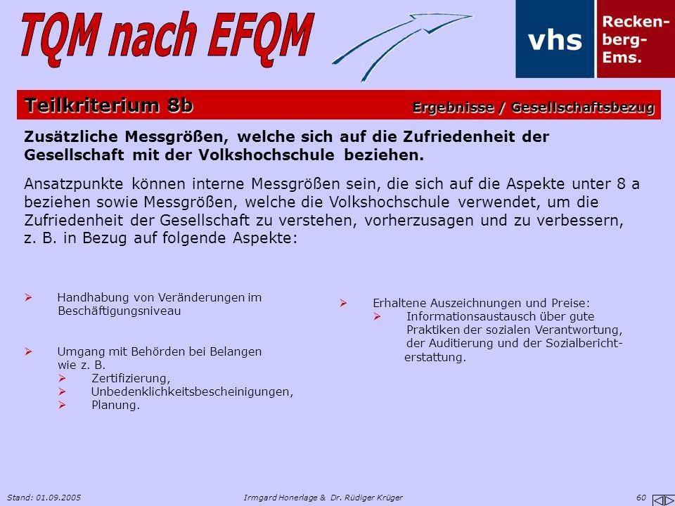 Stand: 01.09.2005Irmgard Honerlage & Dr. Rüdiger Krüger 60 Zusätzliche Messgrößen, welche sich auf die Zufriedenheit der Gesellschaft mit der Volkshoc