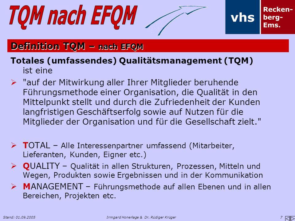 Stand: 01.09.2005Irmgard Honerlage & Dr. Rüdiger Krüger 7 Definition TQM – nach EFQM Totales (umfassendes) Qualitätsmanagement (TQM) ist eine 