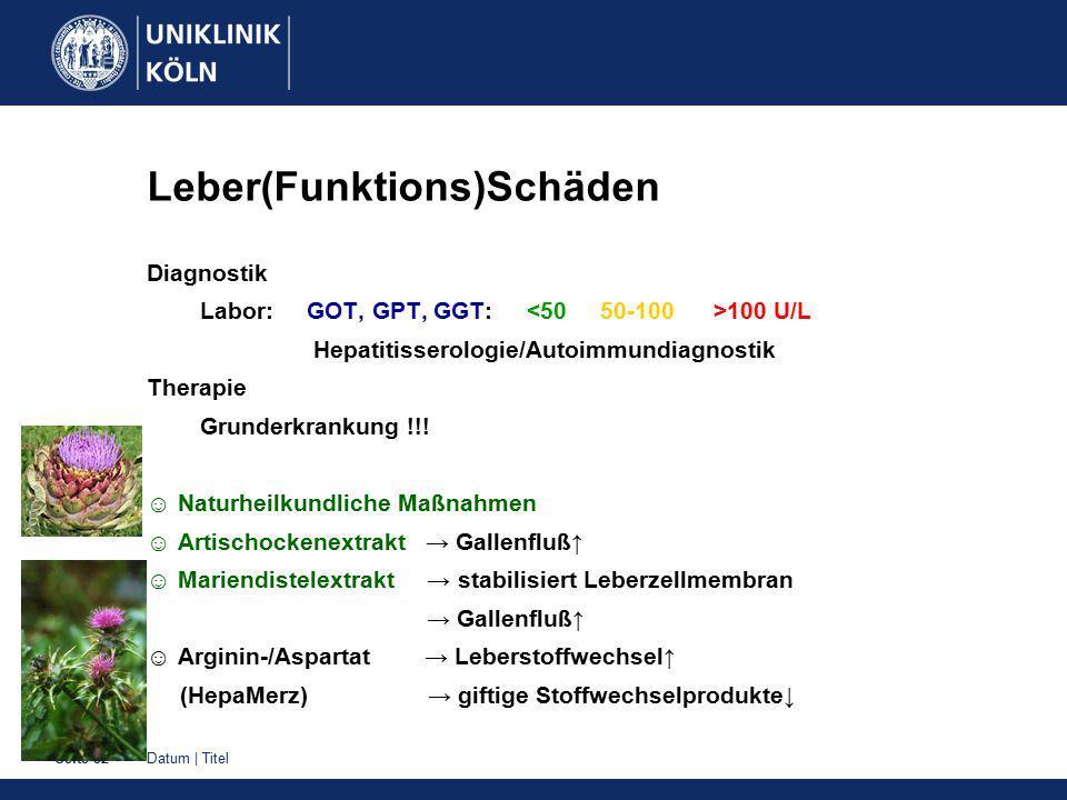 Datum   TitelSeite 32 Leber(Funktions)Schäden Diagnostik Labor: GOT, GPT, GGT: 100 U/L Hepatitisserologie/Autoimmundiagnostik Therapie Grunderkrankung !!.