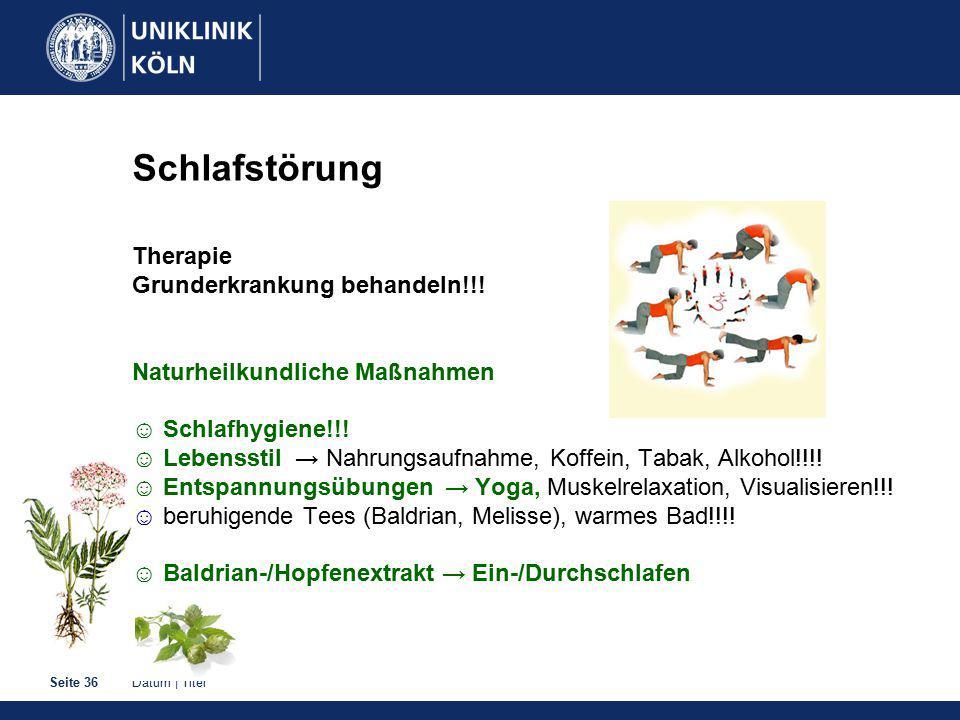 Datum   TitelSeite 36 Schlafstörung Therapie Grunderkrankung behandeln!!.