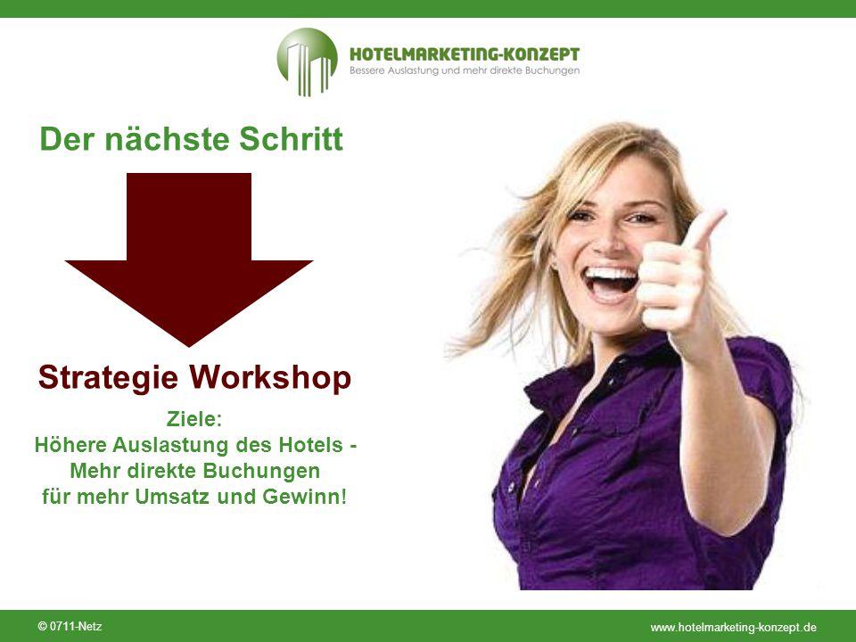 www.hotelmarketing-konzept.de © 0711-Netz Der nächste Schritt Strategie Workshop Ziele: Höhere Auslastung des Hotels - Mehr direkte Buchungen für mehr