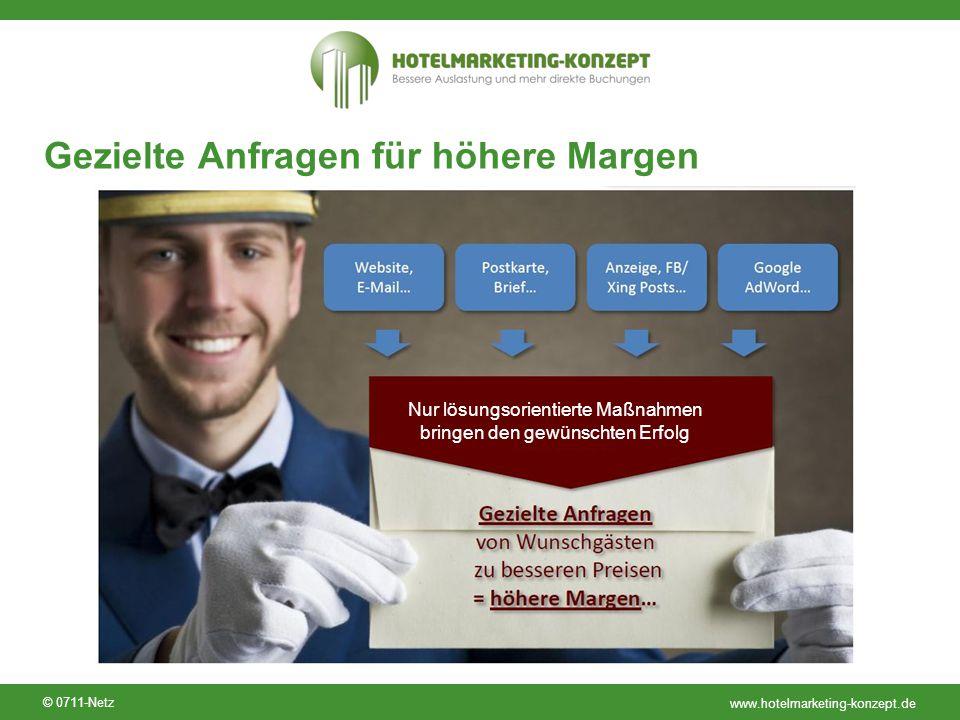 www.hotelmarketing-konzept.de © 0711-Netz Gezielte Anfragen für höhere Margen Nur lösungsorientierte Maßnahmen bringen den gewünschten Erfolg
