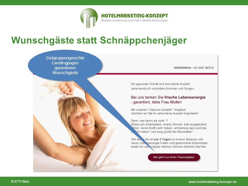 www.hotelmarketing-konzept.de © 0711-Netz Wunschgäste statt Schnäppchenjäger Zielgruppengerechte Landingpages garantieren Wunschgäste