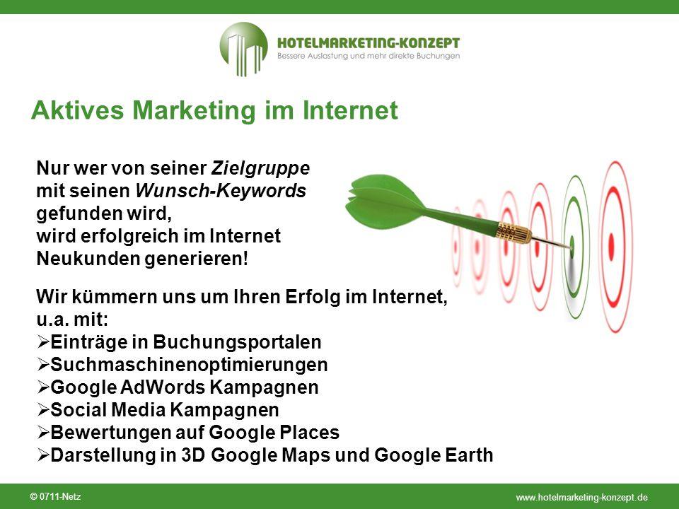 www.hotelmarketing-konzept.de © 0711-Netz Aktives Marketing im Internet Nur wer von seiner Zielgruppe mit seinen Wunsch-Keywords gefunden wird, wird e