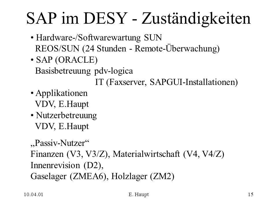10.04.01E. Haupt15 SAP im DESY - Zuständigkeiten Hardware-/Softwarewartung SUN REOS/SUN (24 Stunden - Remote-Überwachung) SAP (ORACLE) Basisbetreuung