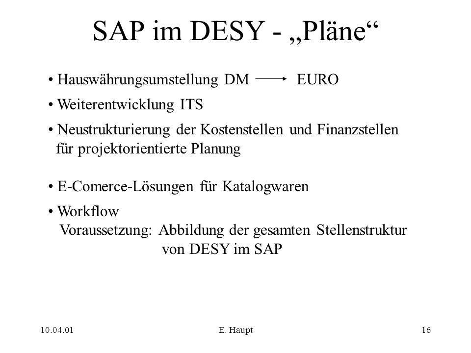 """10.04.01E. Haupt16 SAP im DESY - """"Pläne"""" Hauswährungsumstellung DM EURO Weiterentwicklung ITS Neustrukturierung der Kostenstellen und Finanzstellen fü"""
