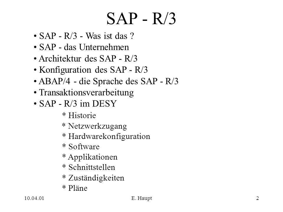 10.04.01E. Haupt2 SAP - R/3 SAP - R/3 - Was ist das ? SAP - das Unternehmen Architektur des SAP - R/3 Konfiguration des SAP - R/3 ABAP/4 - die Sprache