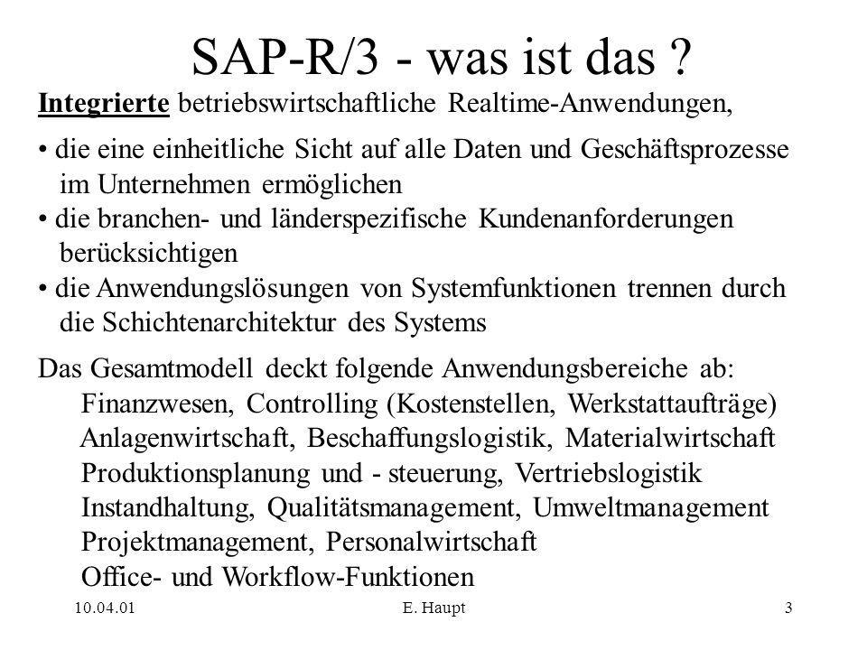 10.04.01E. Haupt3 SAP-R/3 - was ist das ? Integrierte betriebswirtschaftliche Realtime-Anwendungen, die eine einheitliche Sicht auf alle Daten und Ges