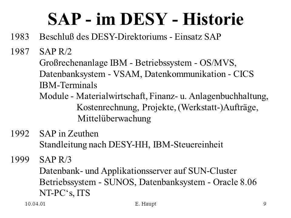 10.04.01E. Haupt9 SAP - im DESY - Historie 1983 Beschluß des DESY-Direktoriums - Einsatz SAP 1987SAP R/2 Großrechenanlage IBM - Betriebssystem - OS/MV