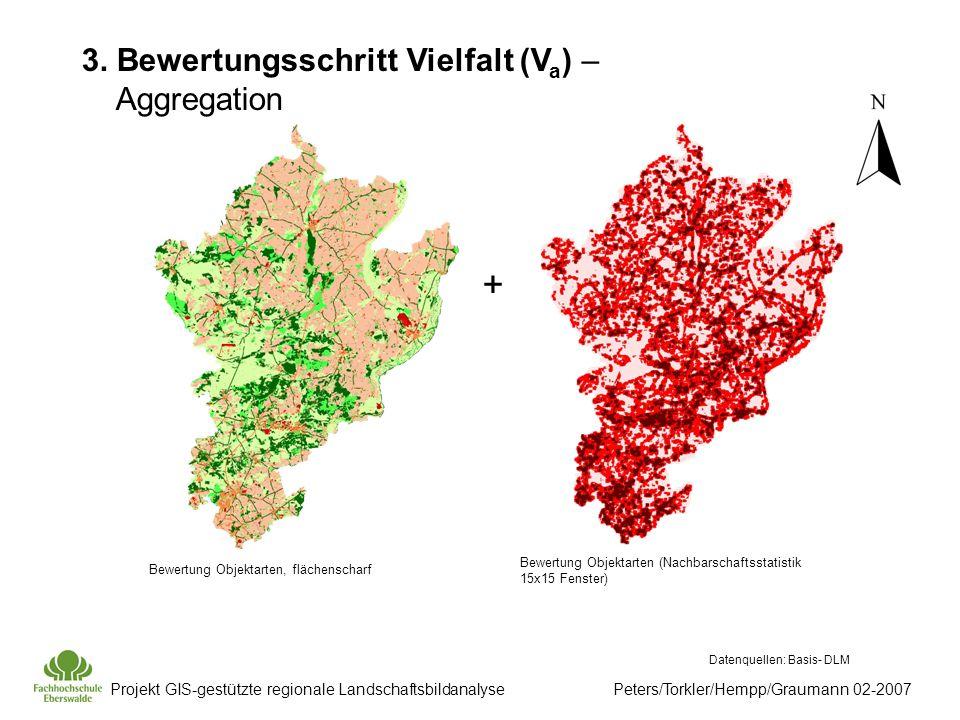 Projekt GIS-gestützte regionale Landschaftsbildanalyse Peters/Torkler/Hempp/Graumann 02-2007 Datenquellen: Basis- DLM Bewertung Objektarten, flächenscharf Bewertung Objektarten (Nachbarschaftsstatistik 15x15 Fenster) + 3.