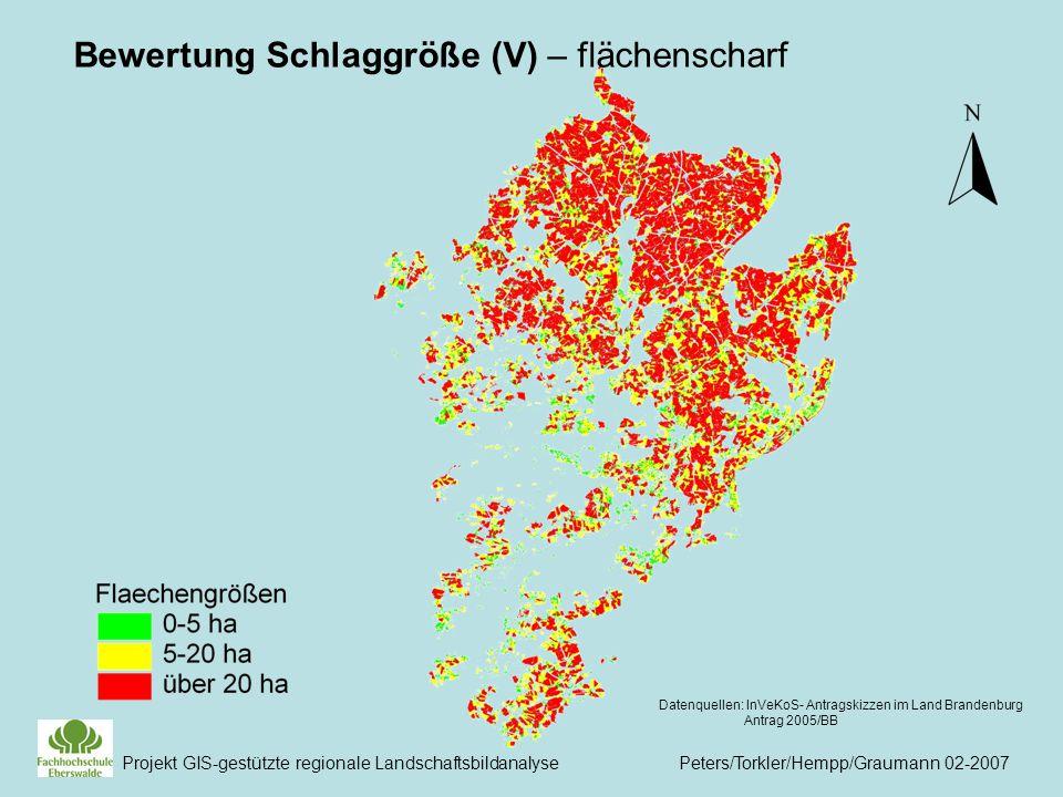 Projekt GIS-gestützte regionale Landschaftsbildanalyse Peters/Torkler/Hempp/Graumann 02-2007 Datenquellen: InVeKoS- Antragskizzen im Land Brandenburg Antrag 2005/BB Bewertung Schlaggröße (V) – flächenscharf