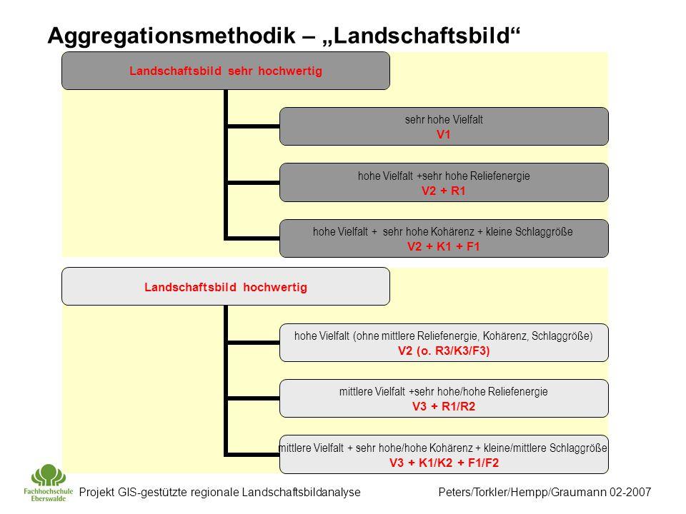Projekt GIS-gestützte regionale Landschaftsbildanalyse Peters/Torkler/Hempp/Graumann 02-2007 Landschaftsbild sehr hochwertig sehr hohe Vielfalt V1 hohe Vielfalt +sehr hohe Reliefenergie V2 + R1 hohe Vielfalt + sehr hohe Kohärenz + kleine Schlaggröße V2 + K1 + F1 Landschaftsbild hochwertig hohe Vielfalt (ohne mittlere Reliefenergie, Kohärenz, Schlaggröße) V2 (o.