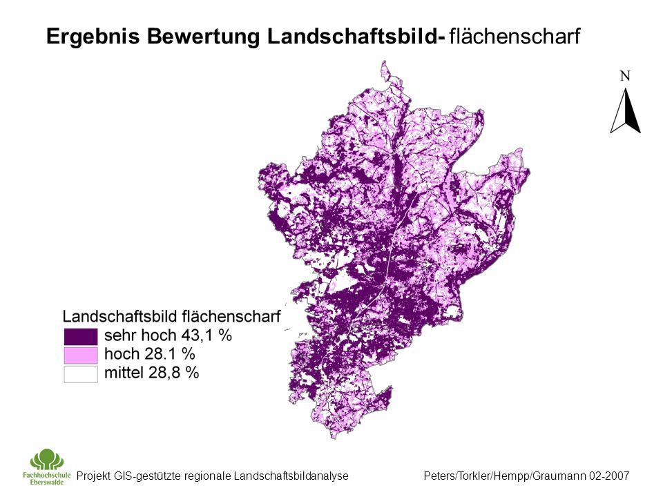 Projekt GIS-gestützte regionale Landschaftsbildanalyse Peters/Torkler/Hempp/Graumann 02-2007 Ergebnis Bewertung Landschaftsbild- flächenscharf
