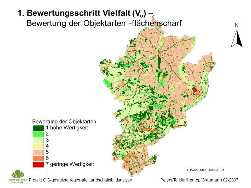 Projekt GIS-gestützte regionale Landschaftsbildanalyse Peters/Torkler/Hempp/Graumann 02-2007 1.Bewertungsschritt Vielfalt (V o ) – Bewertung der Objektarten -flächenscharf Datenquellen: Basis- DLM