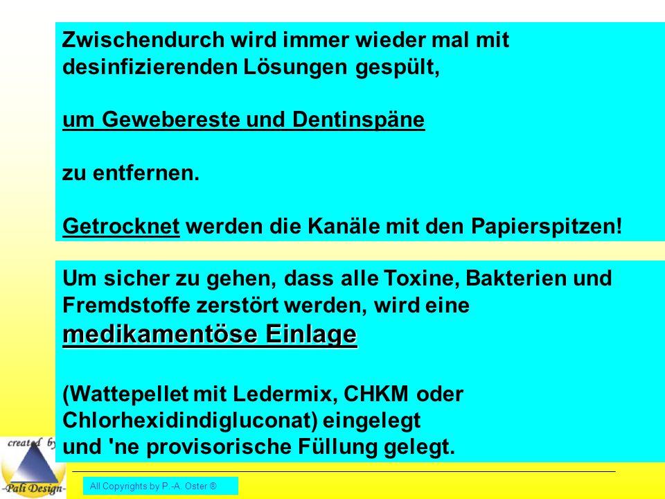 All Copyrights by P.-A. Oster ® Zwischendurch wird immer wieder mal mit desinfizierenden Lösungen gespült, um Gewebereste und Dentinspäne zu entfernen