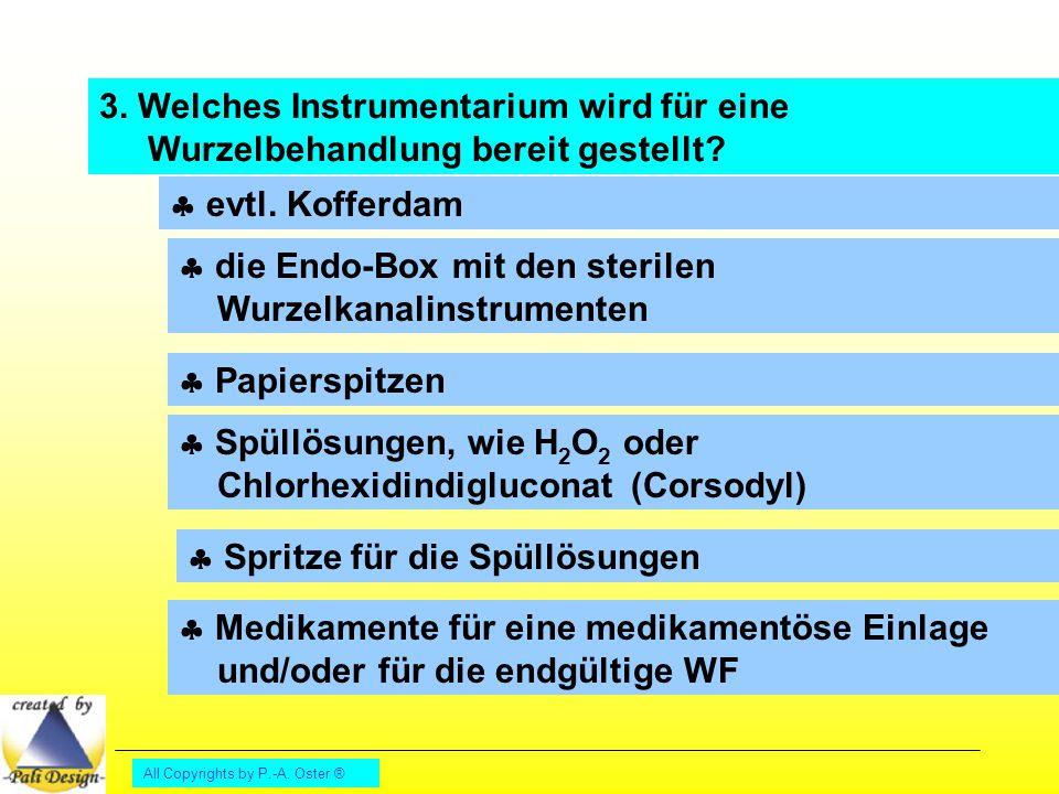 All Copyrights by P.-A. Oster ® 3. Welches Instrumentarium wird für eine Wurzelbehandlung bereit gestellt?  evtl. Kofferdam  die Endo-Box mit den st