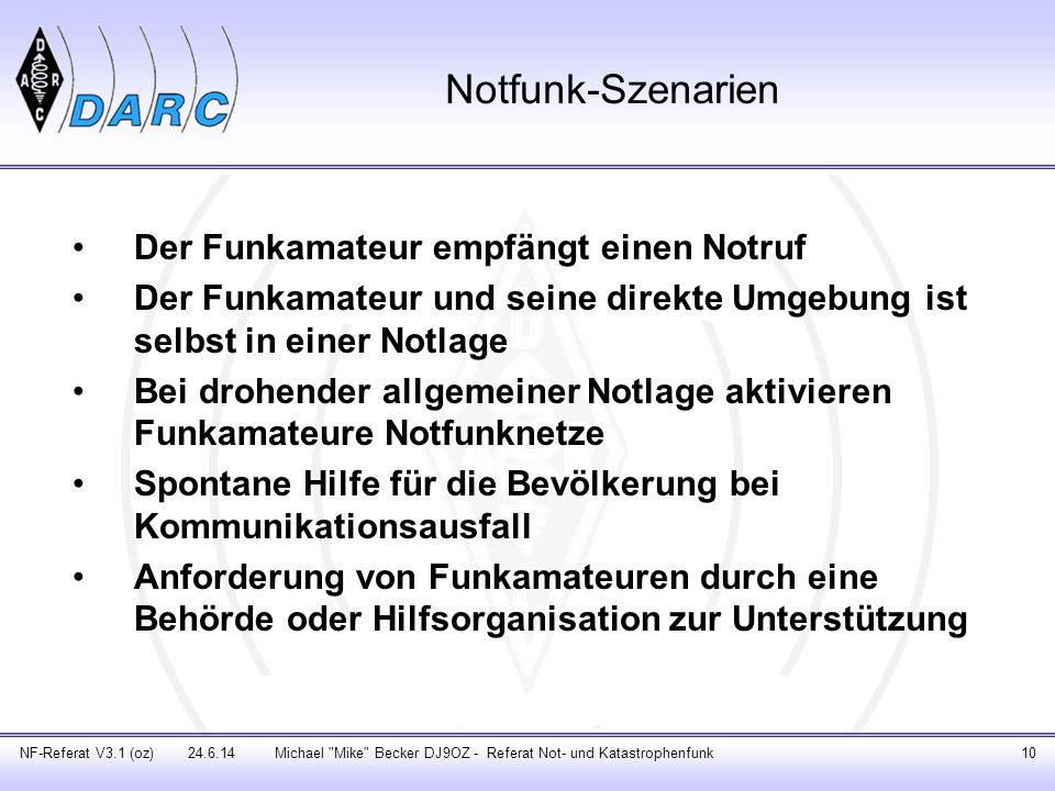 Notfunk-Szenarien Der Funkamateur empfängt einen Notruf Der Funkamateur und seine direkte Umgebung ist selbst in einer Notlage Bei drohender allgemein