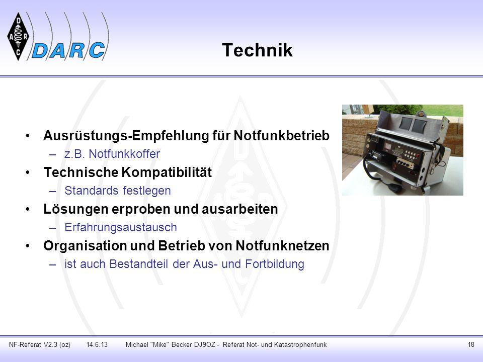 Technik Ausrüstungs-Empfehlung für Notfunkbetrieb –z.B. Notfunkkoffer Technische Kompatibilität –Standards festlegen Lösungen erproben und ausarbeiten