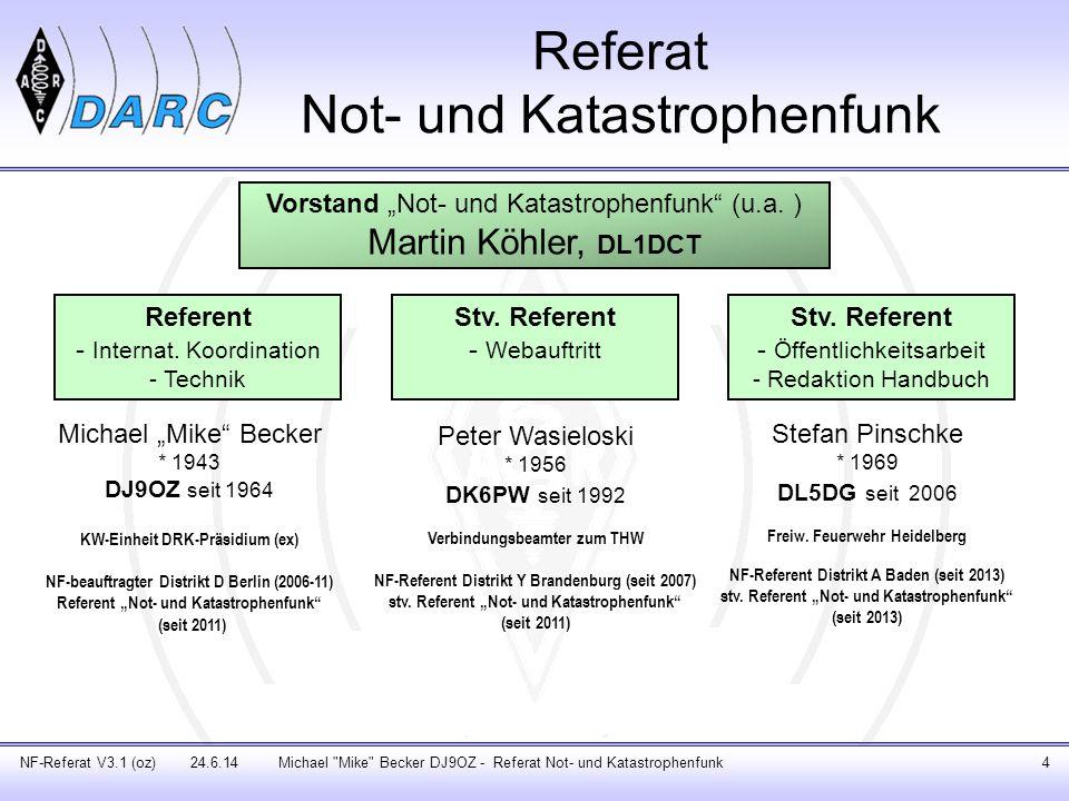 Notfunkreferenten der DARC-Distrikte Michael Mike Becker DJ9OZ - Referat Not- und Katastrophenfunk5NF-Referat V3.1 (oz) 24.6.14