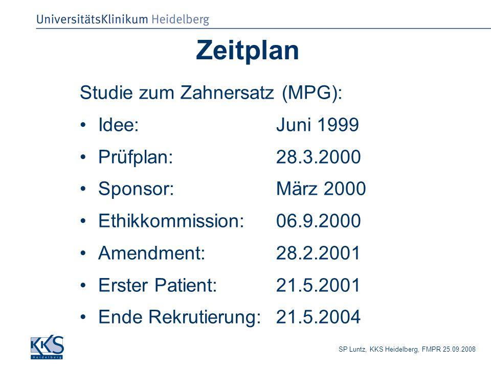 SP Luntz, KKS Heidelberg, FMPR 25.09.2008 Zeitplan Studie zum Zahnersatz (MPG): Idee: Juni 1999 Prüfplan:28.3.2000 Sponsor:März 2000 Ethikkommission: 06.9.2000 Amendment:28.2.2001 Erster Patient:21.5.2001 Ende Rekrutierung:21.5.2004