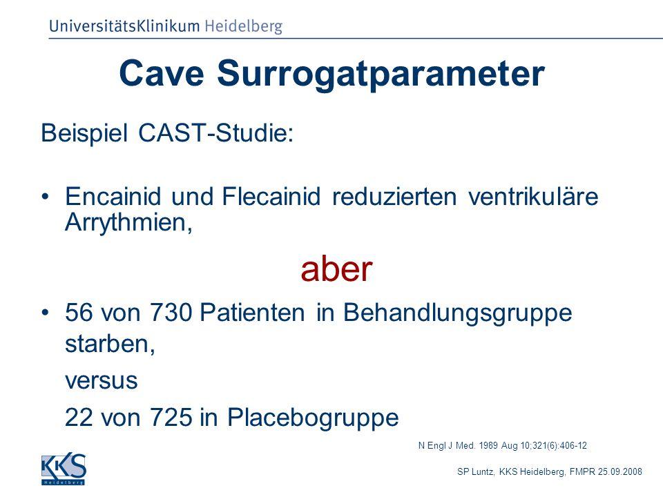 SP Luntz, KKS Heidelberg, FMPR 25.09.2008 Cave Surrogatparameter Beispiel CAST-Studie: Encainid und Flecainid reduzierten ventrikuläre Arrythmien, aber 56 von 730 Patienten in Behandlungsgruppe starben, versus 22 von 725 in Placebogruppe N Engl J Med.